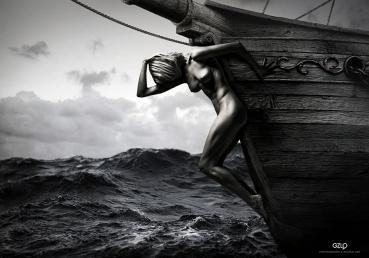 Ref: GZLo - 902. Mascaron: 28cm x 20cm - Model: Chucha – Photo model: Pavel Vinogradov – Art Work: Gonzalo Villar