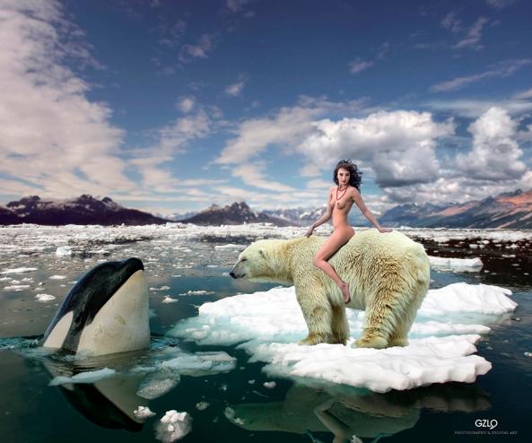 Polar Girl: 70cm x 50cm - Art Work: Gonzalo Villar Photo of Model: Andrey-Stanko