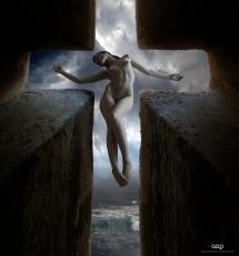 Ref: GZLo – 604. St. Cross: 22cm x 23cm - Art Work: Gonzalo Villar - Model: Evgenia Kochergina - Photo model: GRIGORY Demchenko